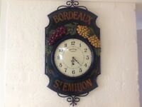 Lovely Vintage Large wood and metal wall clock hand painted county corner