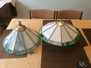 Pair of Vintage Stained Glass Light Fixtures
