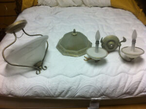 Two Bathroom vanity lights /sconces and ceiling lights