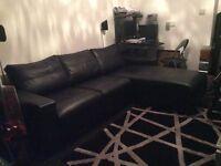Corner Black Faux Leather Sofa