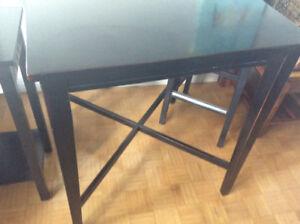 Black oak finish bar table  and bar stool