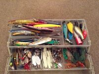 Fishing Lure Box FULL Of Over 100+ Lures Spinners Mepps Flying C Toby Crankbaits Jigs Wedges