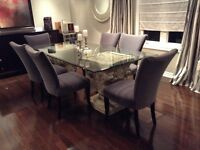 Glass dining table and 6 parson chairs