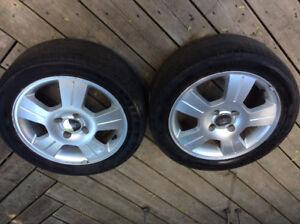 2 Ford aluminum rims, 4 bolt, Focus,Pirelli four season,