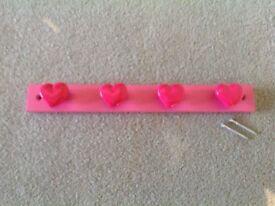 Pink love heart wall coat hook bar