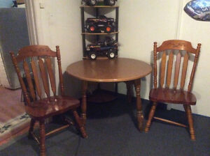 Wooden Table and Two wooden Chairs