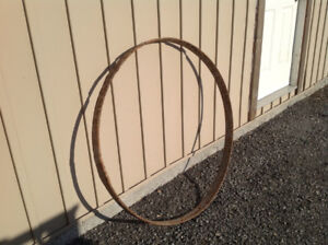 Antique Wood Wagon Wheel Metal Ring / Tire
