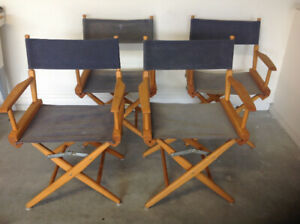 4 Vintage solid hardwood folding director chairs
