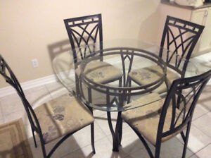 Glass Dinette Table & Chairs