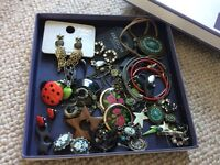 Assorted box of earrings and necklaces