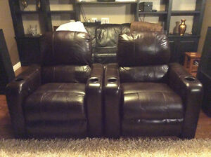 Two Leather Berkline 090 Theatre Chairs with Buttkickers