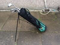 Golf bag and set of right handed irons