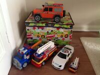 Emergency Vehicles with Toy Box