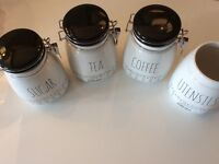 Beautiful Heartlines Tea, Coffee, Sugar And Utensil Cannisters. Brand New.