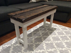 Weathered wood country bench