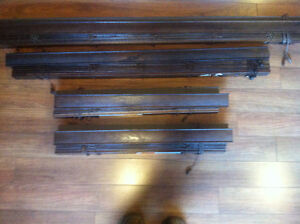 Window blinds -Espresso wood grain set and Frost white metal set