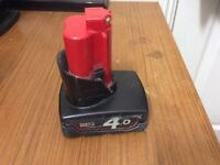 MILWAUKEE M12B4 12V 4.0AH RED LITHIUM ION BATTERY
