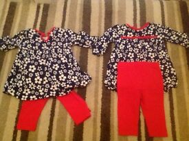 Baby girl tunic dress and leggings bundle 3-6 months perfect condition four items George