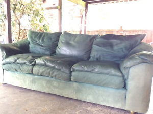Full length leather couch