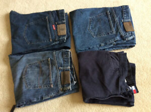 "3 pairs jeans, 1 pair of Tommy Hill pants, size 36""x 32"""