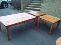 Wooden Coffee Table and 2 x Lamp Tables