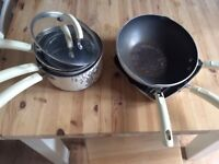 Prestige cream 3 saucepan, frying pan, wok and grill set