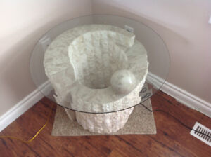 Round glass top imitation stone end Table