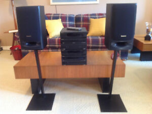 Technics Stereo System with Cabinet and 2 Speakers And Stands