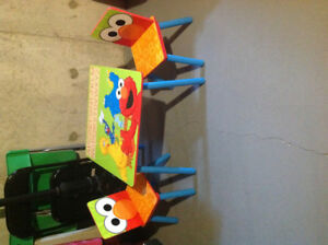 Wooden Sesame Street table with chairs and Toy Storage Organizer