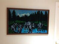 Velvet picture set on professional Mahogany frame