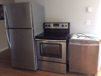Stainless steel whirlpool fridge, self cleaning stove,dishwasher