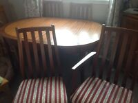 Oval extending Dinning room table & chairs