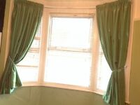 CURTAINS - 2 Pairs & Matching Table Lamp - Bay / Straight Window