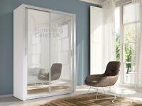 Lux 150 Sliding Wardrobe in OAK Sonoma/San Remo, WHITE, BLACK, GREY, WENGE storage cabinet bedroom