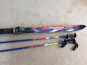 Downhill skis, poles and boots