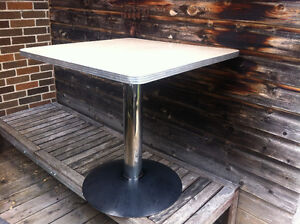 Vintage Retro Mid-Century (ish?) Chrome and Beige Table