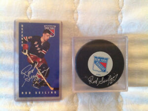 Rod Seiling Autographed Card and Puck