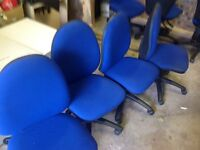 4 blue office chairs in fabric