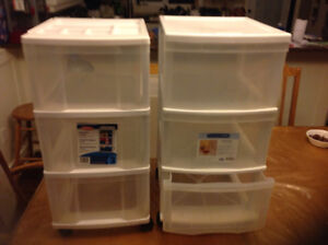 Two  3 drawer storage systems
