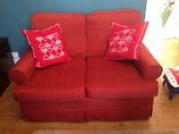 2 seat Sofa and 2 Chairs with foot stool , new Burgundy Plumbs Washable Covers