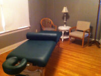 Therapy room in busy Chiropractic building, RMT, Phsyio, etc