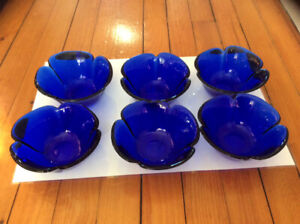 Cobalt blue flower shaped bowls made in Italy