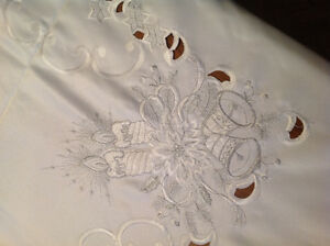 Seasonal white and silver tablecloth, new never used