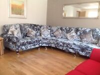 Corner sofa and electric recliner, large, crushed velvet, hardly ever used