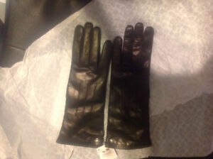 Coach black cashmere lined leather gloves- new tags attached