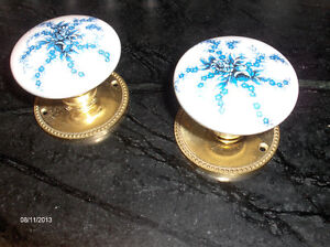 Two sets of Delft Ceramic Door Knobs and Brass Back Plates $40 Kingston Kingston Area image 1