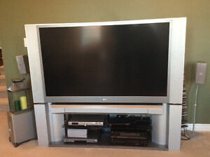 """60"""" Toshiba DLP rear projection tv and stand for sale"""