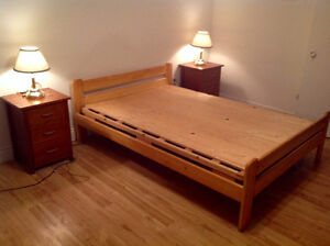 One bed one mattress two bedside tables