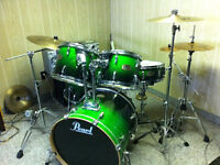 Rare fade forest green Pearl ELX series drum set