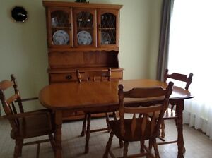 Maple Table, Hutch, Buffet and 4 Chairs